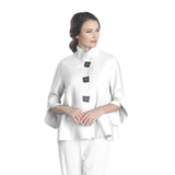 IC Collection Ribbed Button Front Jacket w/Trumpet Sleeves in White - 3065J-WHT