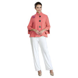 IC Collection Button Front Trumpet Sleeve Jacket in Coral - 3065J-COR - Sizes L & XXL Only