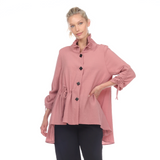 Moonlight High-Low Blouse in Rose Pink - 3068-ROS