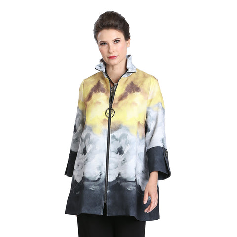 IC Collection Double-Ring Zip Front Swing Jacket in Mustard/Multi - 3072J