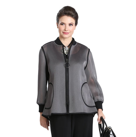 IC Collection Zip Front High-Low Mesh Jacket in Grey/Black - 3074J-GRY - Sizes S, XL & XXL