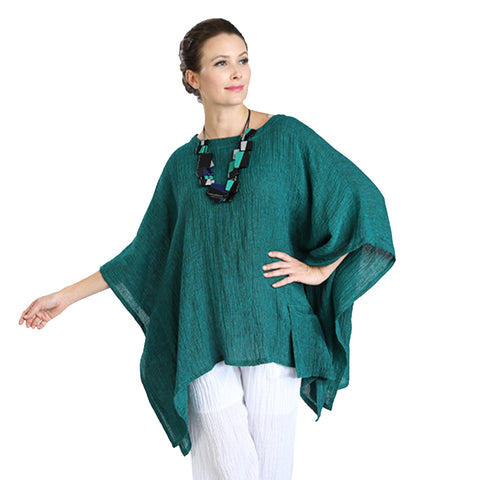 IC Collection Linen Poncho in Green - 3078T-GRN - Size M Only