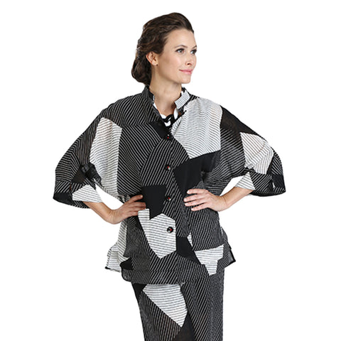 IC Collection Patchwork Stripe Sheer Blouse/Jacket - 3080J-BLK