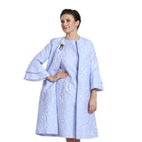 IC Collection Open Front Jacquard Topper in Sky Blue - 3083J-SKY