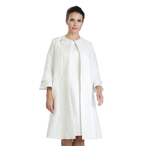 IC Collection Open Front Jacquard Topper Jacket in White - 3083J-WT