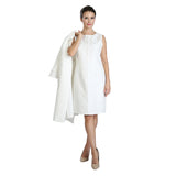 IC Collection Jacquard Sleeveless Shift Dress in White - 3088D-WT