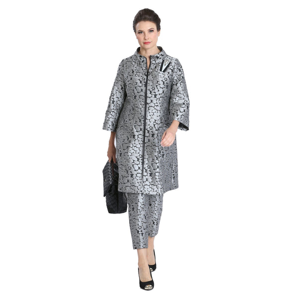 IC Collection Jacquard Zip Front Long Jacket in Grey - 3100J-GRY - Size L Only