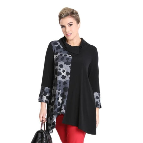 IC Collection Animal Print High-Low Tunic in Grey/Black - 3106T-BLK