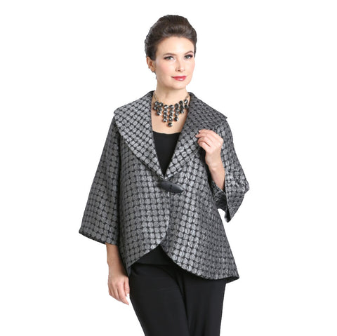IC Collection Jacquard V-Neck Short Jacket in Grey/Black - 3111J