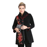 IC Collection Floral Double Collar Zip Jacket - 3112J-BLK - Sizes S, M & XXL