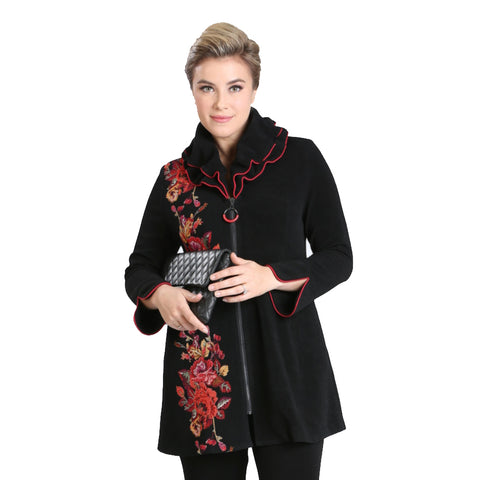 IC Collection Floral Double Collar Zip Jacket - 3112J-BLK