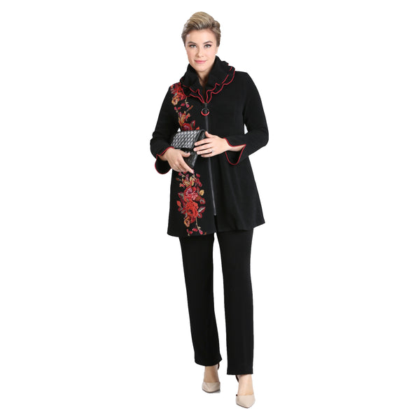 IC Collection Colorblock-Floral  Zip Front Jacket - 3112J-BLK - Size S