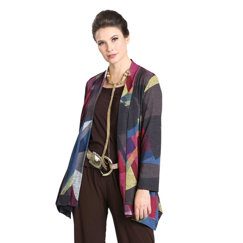 IC Collection Abstract Colorblock Open Front Sweater Knit Cardigan in Multi - 3117J