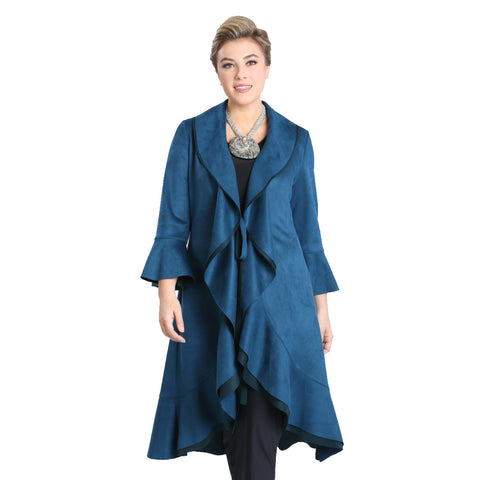 IC Collection Drape-Front Faux Suede Jacket in Teal - 3130J-TL