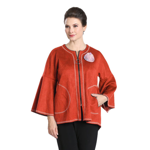 IC Collection Zip Front Faux Suede Jacket in Rust - 3131J-RST