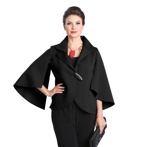 IC Collection Short Split Sleeve Jacket in Black - 3132J-BK