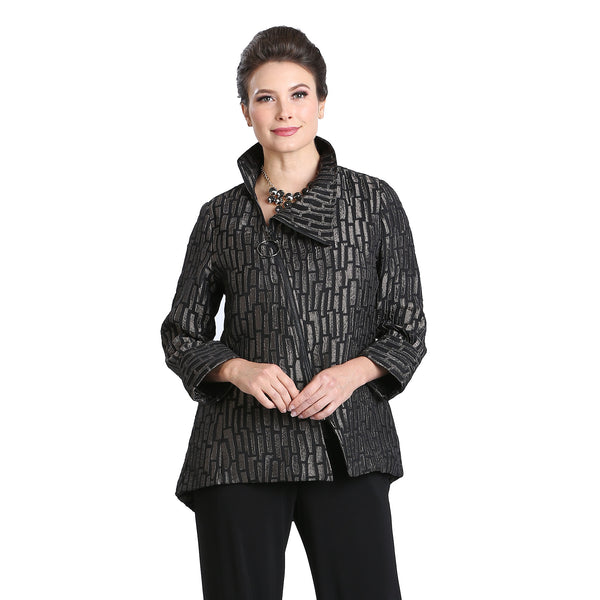 IC Collection Jacquard Stripe Zip Front Jacket in Taupe - 3135J-TP-Sizes M & L Only