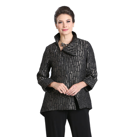 IC Collection Geometric Asymmetric Zip Front Jacket in Taupe/Black - 3135J-TP