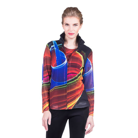 Damee NYC Abstract Mesh Jacket w/Matching Shell in Red/Multi - 31371-MLT