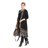 IC Collection Animal-Print Trim Long Vest - 3137V-BLK - Sizes M & L Only