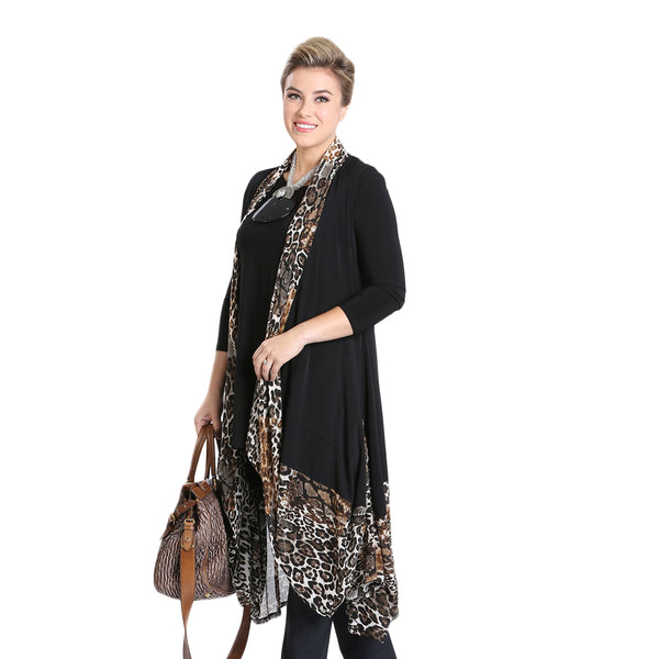 IC Collection Animal-Print Trim Long Vest - 3137V-BLK - Size M Only