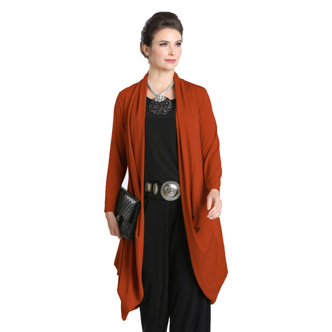 IC Collection Open Front Cardigan in Rust - 3138J-RST