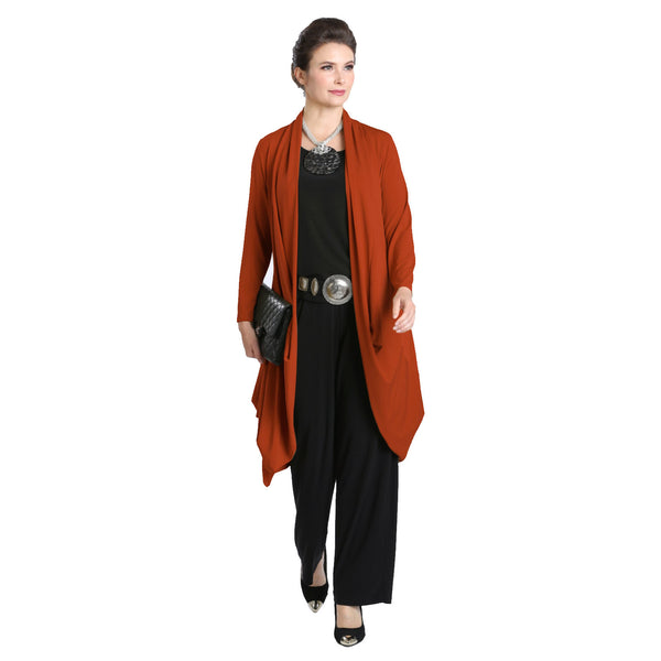 IC Collection Long Soft Knit Cardigan in Tiger Orange - 3138J-TORG - Sizes M & XL