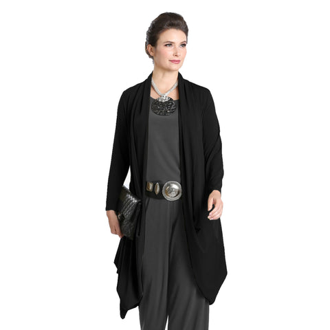 IC Collection Open Front Cardigan in Black - 3138J-BLK  Sizes S, XL & XXL Only