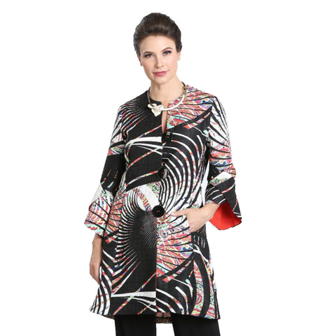 IC Collection Mixed Print Button Front Jacket in Multi - 3145J