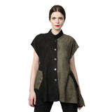 Damee NY Colorblock Faux Suede Vest in Black/Olive - 3149-OLV