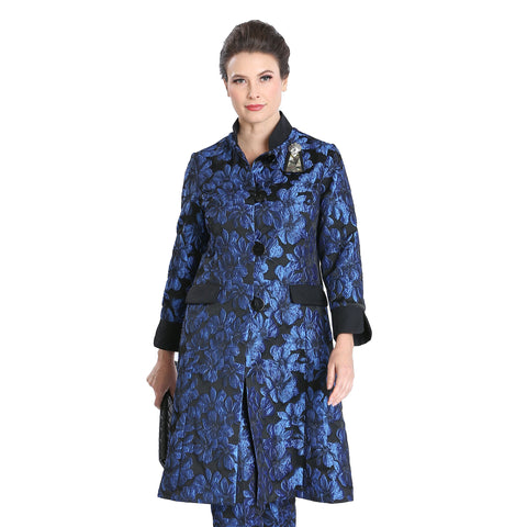 IC Collection Jacquard Button Front Jacket in Blue/Black - 3149J-BLU