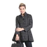 IC Collection Zip Front Fit & Flare Jacket in Silver/Black - 3155J-BLK - Size XL Only