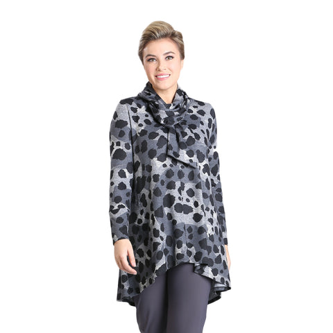 IC Collection Animal Print Tunic in Grey - 3160T-GRY