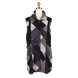 Damee NY Checkered Rib Vest in Black/Multi -  3171-BLK - Size S Only