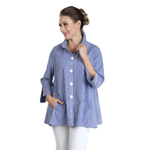 IC Collection Striped Big Shirt in Blue/White - 3176B-BL