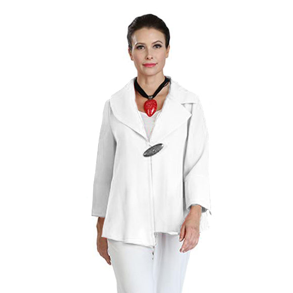 IC Collection One-Button Asymmetric Jacket in White - 3205J-WHT