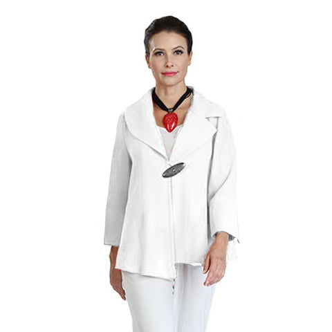 IC Collection One-Button Asymmetric Jacket in White - 3205-WHT
