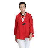 IC Collection One-Button Asymmetric Jacket in Red - 3205-RED