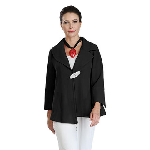 IC Collection One-Button Asymmetric Jacket in Black - 3205-BLK