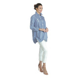 IC Collection Striped Long Pocket Shirt Blouse in Blue/White - 3218B-BLU