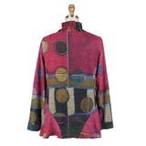Damee  Abstract Sweater Knit Twin Set in Fuchsia/Multi - 32197-FCH - Sizes S -L