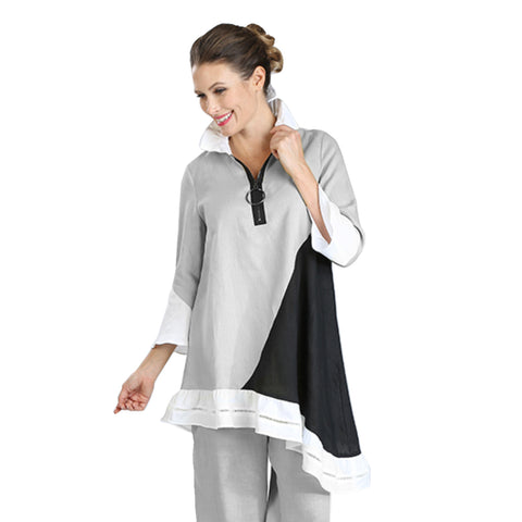 IC Collection Zip-Front Colorblock Tunic in Grey/Black/White - 3219T-GRY