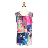 Damee Vibrant Abstract Print Long Mesh Twin Set - 32201-PNK