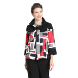 IC Collection Colorblock Zip Front Jacket in Red/Multi - 3299J - Size S & M Only