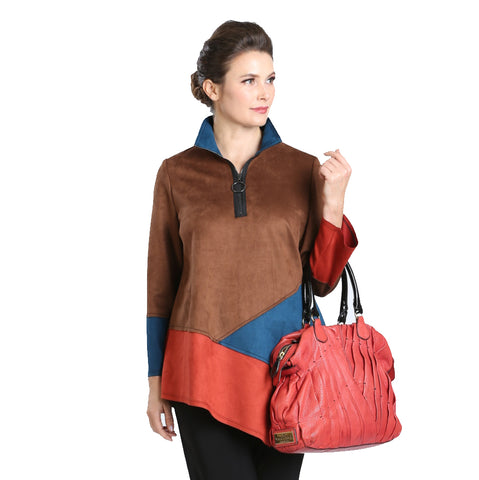 IC Collection Faux Suede Colorblock Tunic in Camel/Teal - 3300T