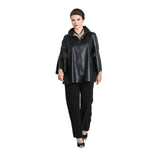 IC Collection Liquid Leather Zip Front Jacket in Black - 3312J-BLK