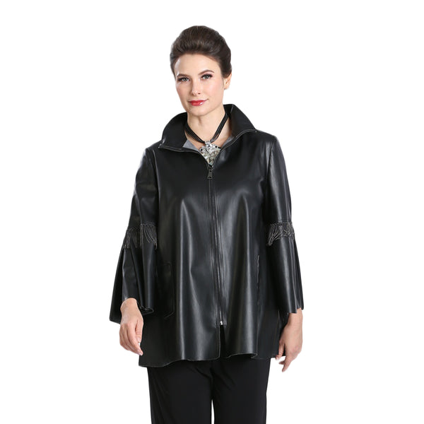 IC Collection Liquid-Leather Zip Front Jacket in Black - 3312J-BLK - Size XL Only
