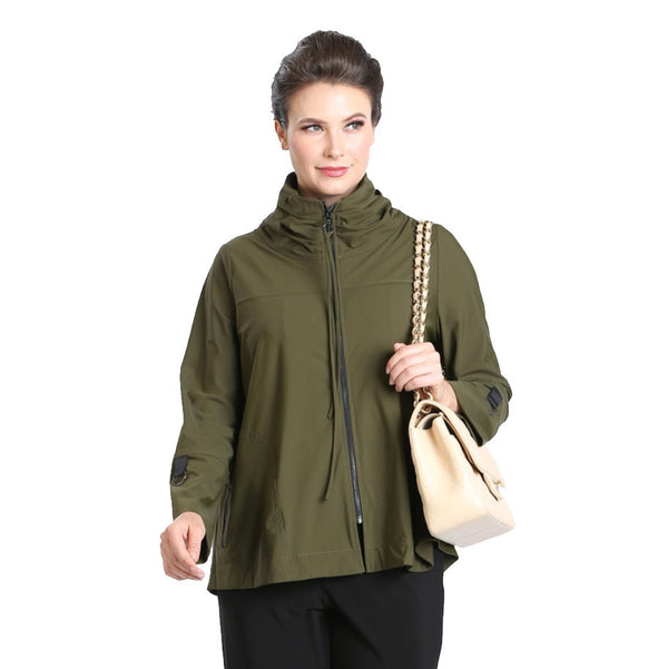 IC Collection Zip Front Parachute Jacket in Olive - 3316J-OLV - Size S Only