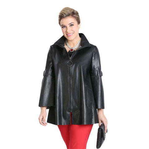 IC Collection Faux Leather Zip Jacket in Black - 3318J-BLK