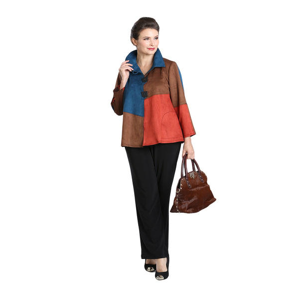 IC Collection Colorblock Faux-Suede Jacket - 3319J - Size XL Only